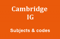 Cambridge International IG subjects and codes